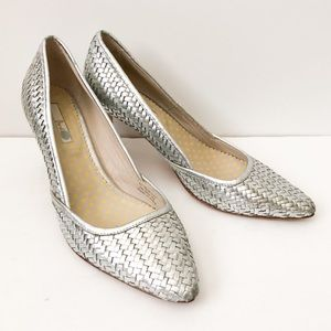 Boden woven silver leather heels